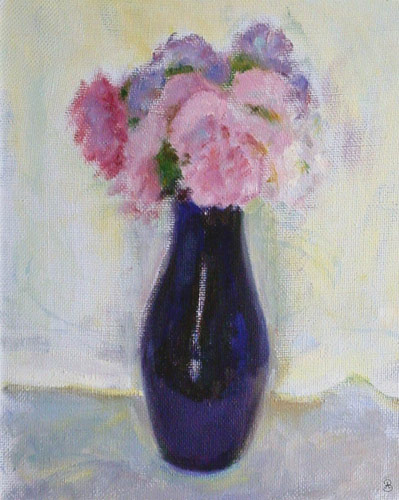 Asters in blue vase