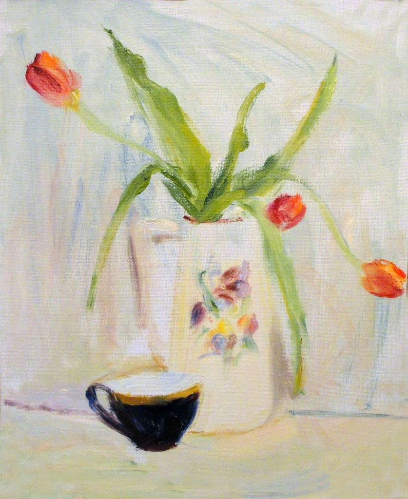 Tulips and a cup