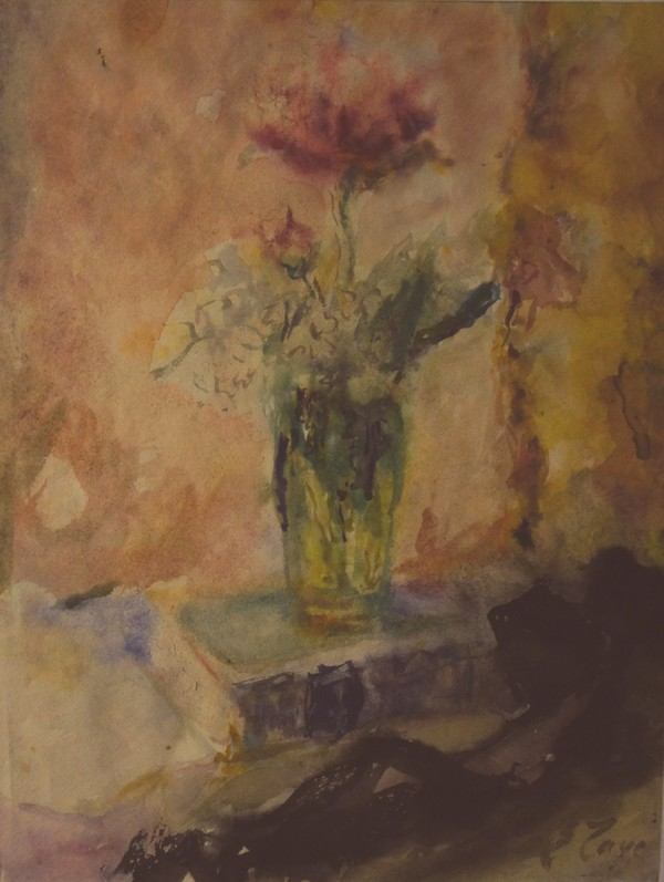 Roses in a green vase