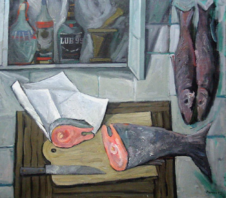 Still life with red fish